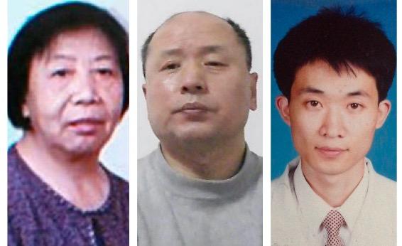 (從左至右)被迫害致死的付樹勤老太太、瀋陽47歲的航空工程師胡林,再度被非法關押的原哈爾濱外科主治醫生李力壯。(大紀元合成圖)