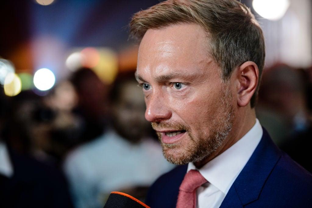圖爲德國自民黨主席林德納(Christian Lindner)。(Jens Schlueter/Getty Images)