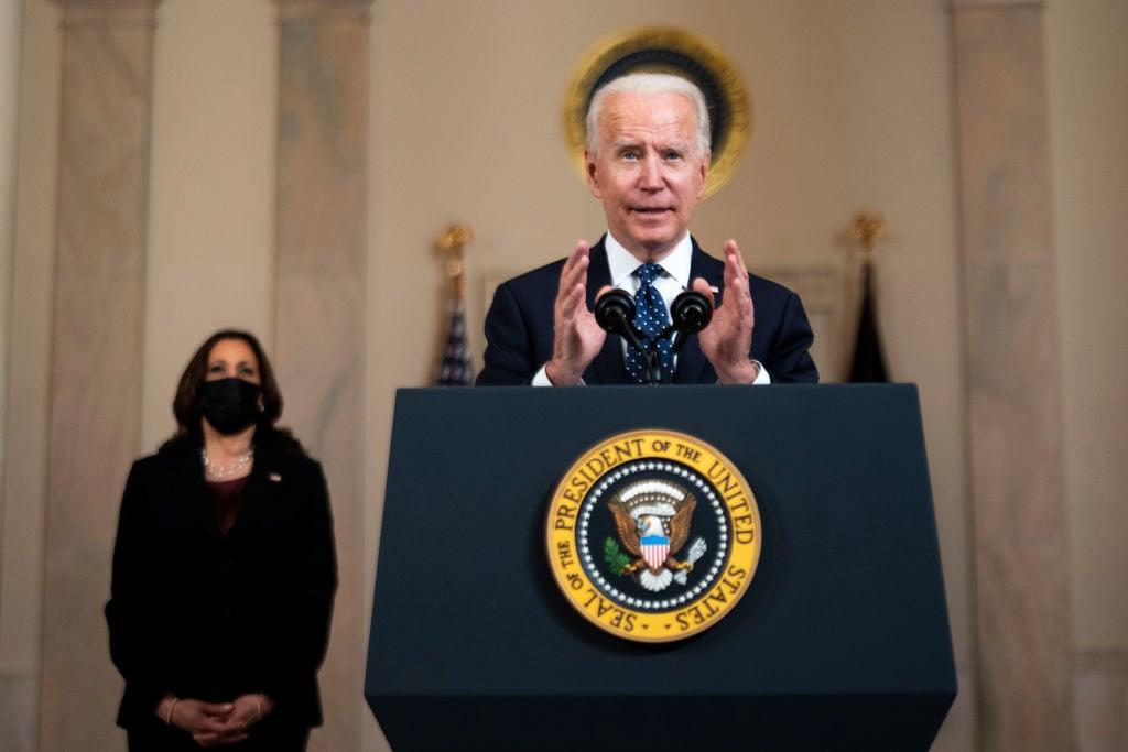 圖為美國總統祖·拜登(Joe Biden)2021年4月20日在白宮發表演講。(Doug Mills/Pool/Getty Images)
