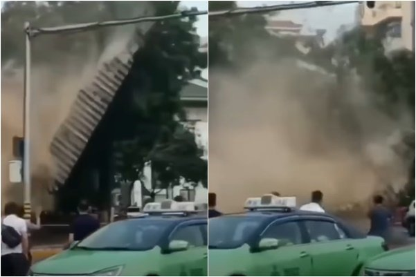 2020年8月8日上午,位於西安新城廣場南側的明秦王府城牆突然坍塌。(影片截圖)