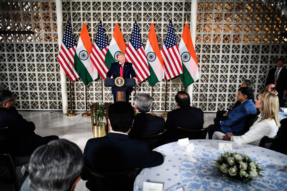 2月25日,美國特朗普總統在印度參加商業圓桌會,並發表演講。(Mandel NGAN / AFP)
