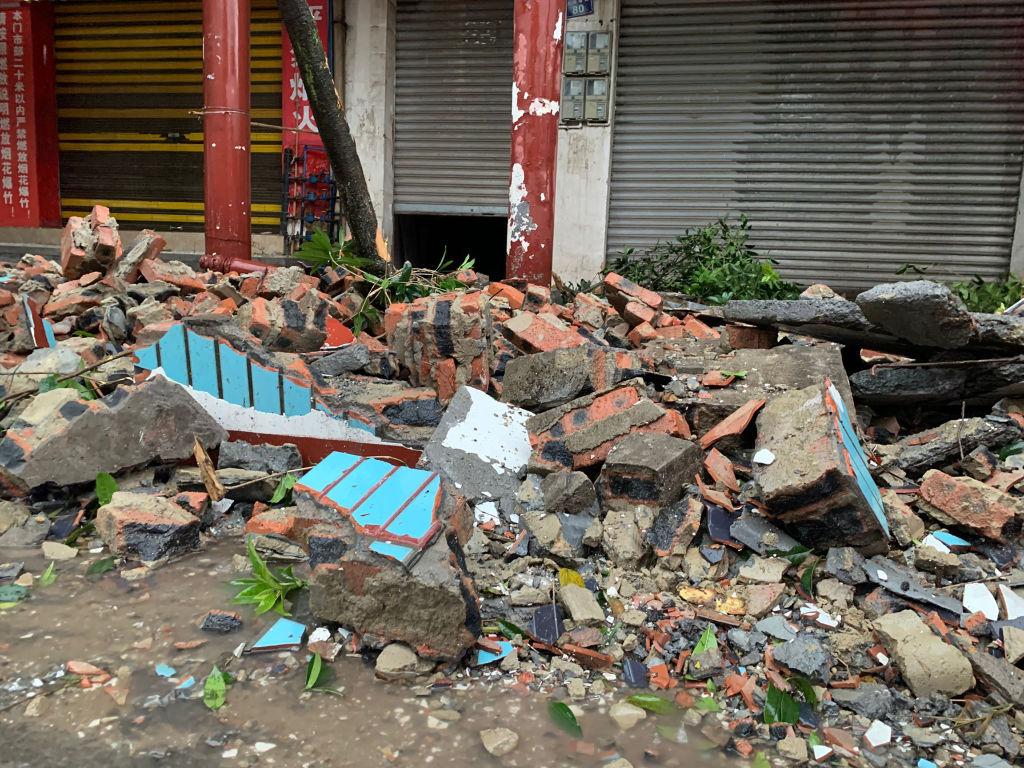 9月16日4時33分,四川瀘州市瀘縣發生6.0級地震。(STR/AFP via Getty Images)