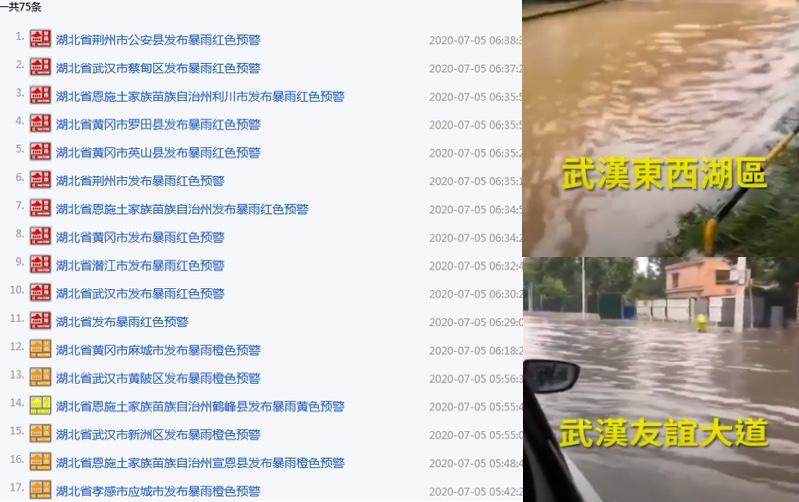 湖北遭遇六輪大暴雨 1081座水庫超警戒上限