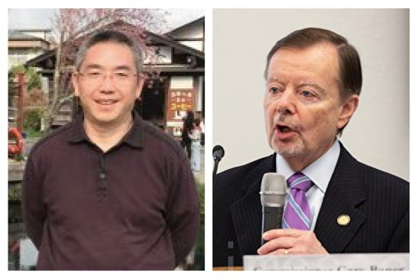 左為:原北京律師賴建平;右為:美國國際宗教自由委員會(USCIRF)委員鮑爾(Gary Bauer)(大紀元合成圖)