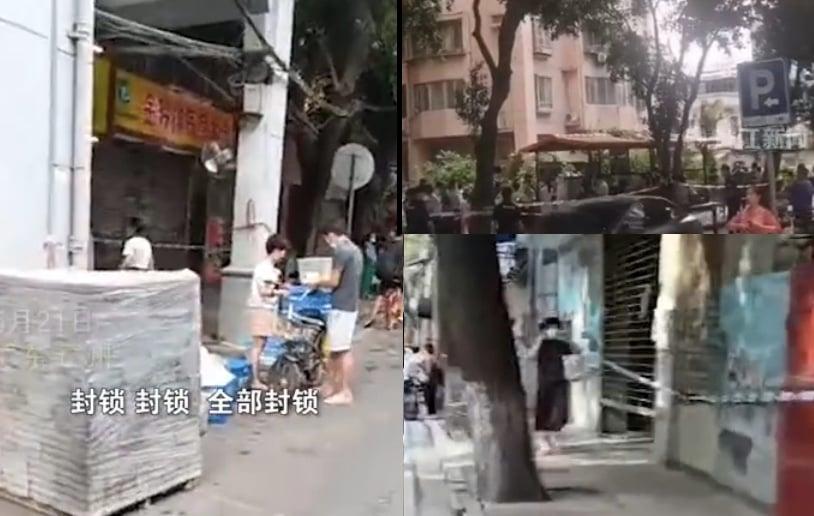 5月20日,廣州荔灣區排查發現1例中共肺炎核酸檢測疑似陽性人員。圖為疑似患者所在社區附近被封鎖。(影片截圖合成)