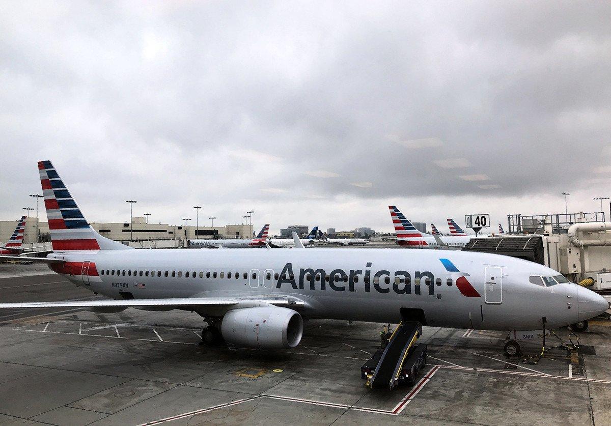 一架美國航空波音737示意圖。(Daniel SLIM/AFP)