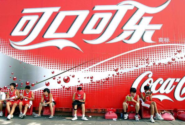 北京可口可樂廣告牌。(STR/AFP/Getty Images)
