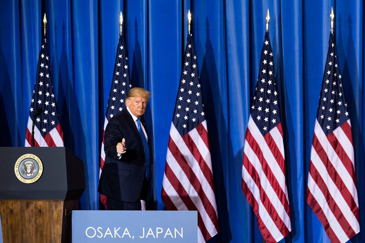 習特會後,當地時間6月29日下午3點半以後,特朗普召開新聞發佈會並回答記者提問,特朗普談到各種國際國內議題,以及中美關係、習近平等話題。(Tomohiro Ohsumi/Getty Images)