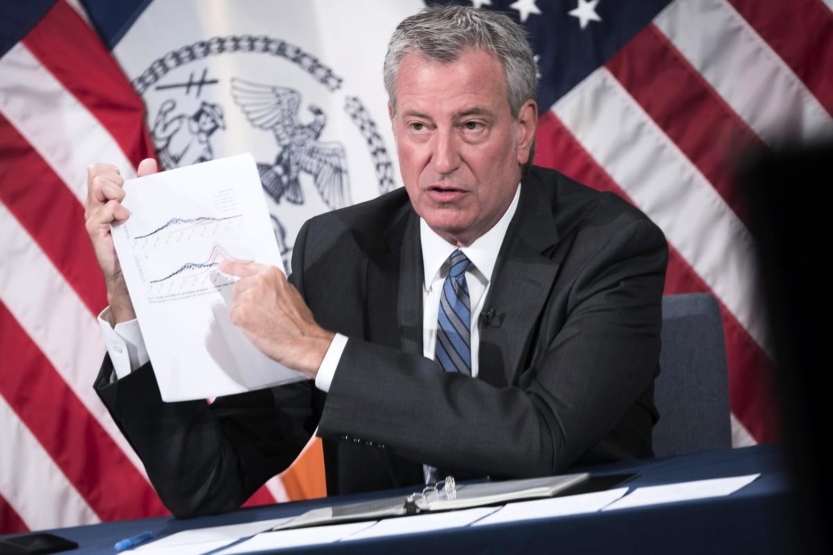 市長白思豪介紹紐約市疫情狀況。(Ed Reed/Mayoral Photography Office)