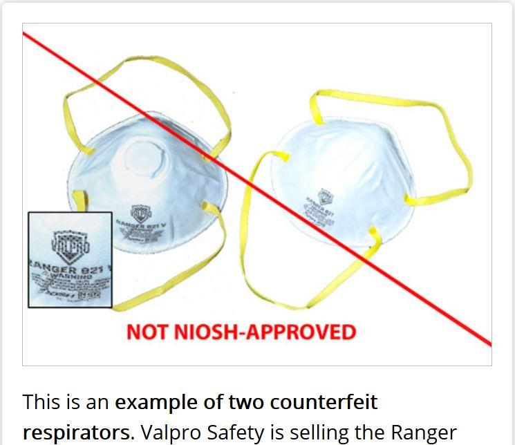美國疾病控制和預防中心(CDC)在其官方網站上發佈的Valpro Ranger 821及821V面罩偽造品(CDC網站)