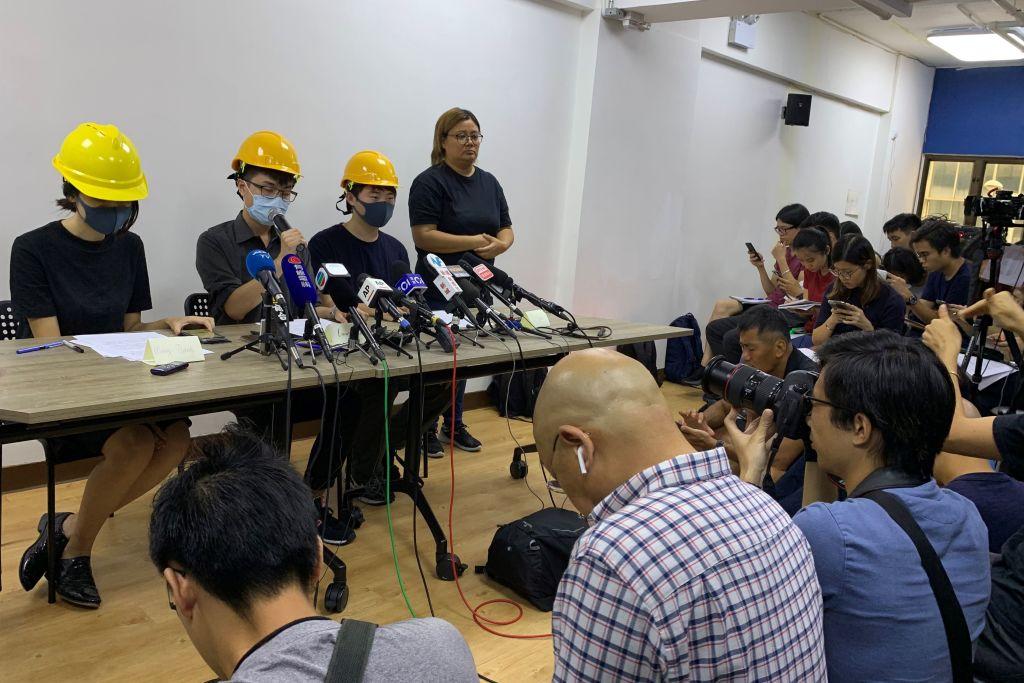 8月6日(星期二),進行和平抗議的香港人舉行了「反送中」以來的第一次新聞發佈會。(VANESSA YUNG/AFP/Getty Images)