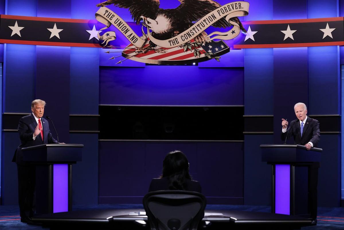 兩黨總統候選人特朗普和拜登於2020年10月22日在田納西州納什維爾貝爾蒙特大學舉行了第二場也是最後一場辯論。(Chip Somodevilla/Getty Images)