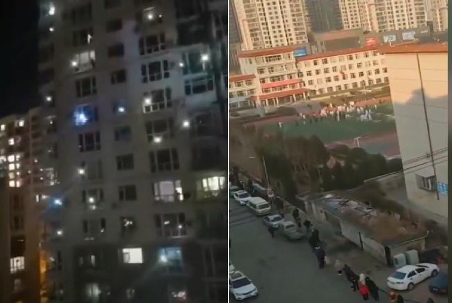 遼寧省大連市疫情嚴重,該市金普新區金潤小區(圖左)民眾夜間高喊「加油」。金州電大(圖右)的民眾大排長龍等候做核酸檢測。(影片截圖合成)