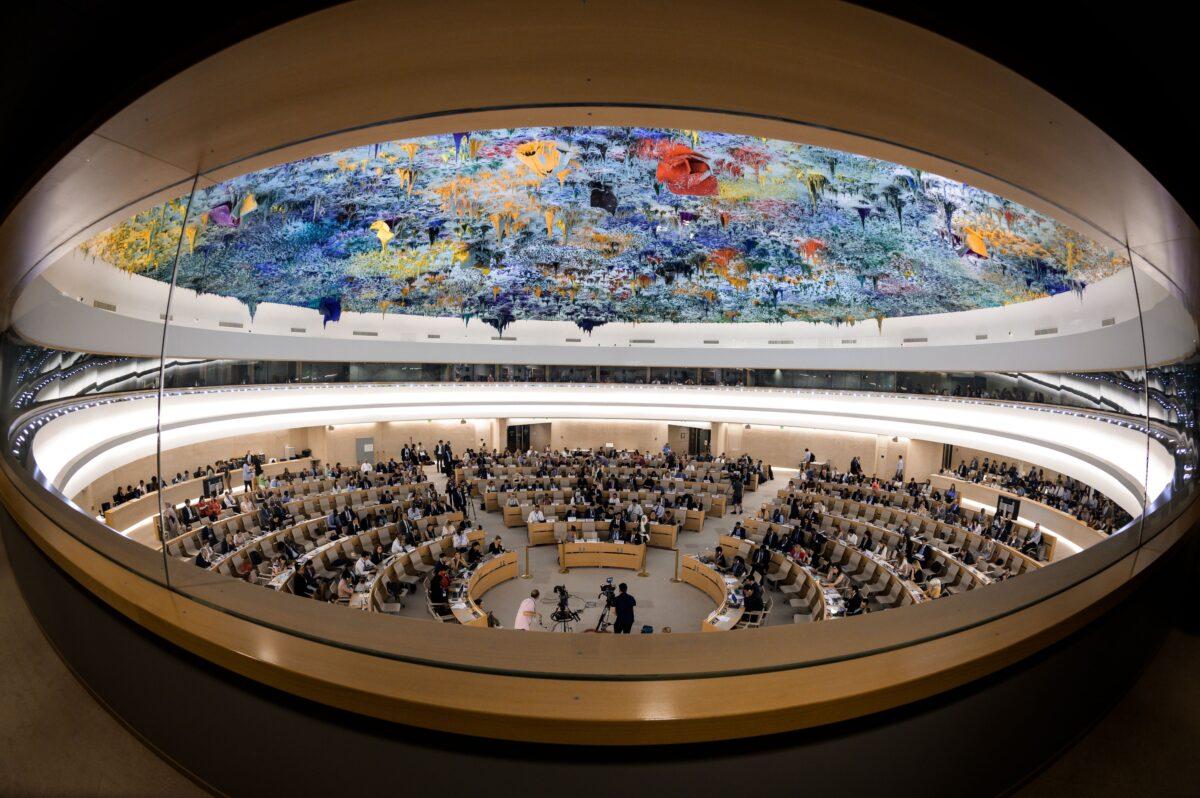 2019年6月26日,日內瓦,聯合國人權理事會在日內瓦就聯合國特別調查員關於法外處決或任意處決沙特記者Jamal Khashoggi的報告進行辯論。(FABRICE COFFRINI/AFP/Getty Images)