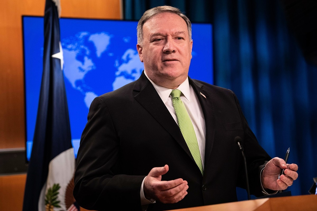 蓬佩奧2020年5月20日在國務院講話。(NICHOLAS KAMM / POOL / AFP)