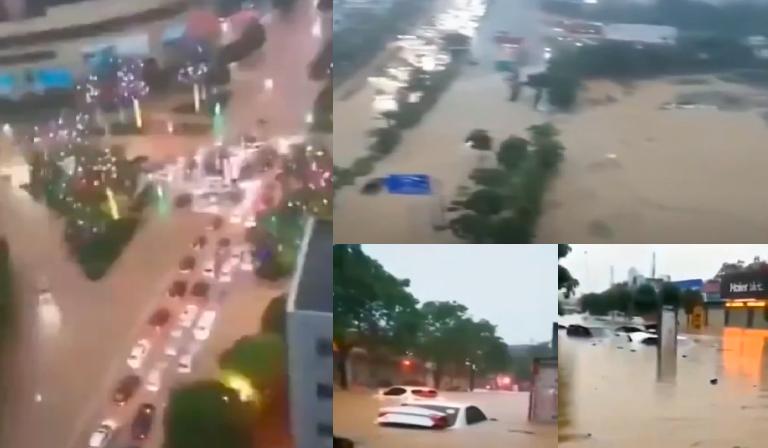 連日裏廣西多地降雨,梧州市、崇左市均現洪澇。(影片截圖合成)