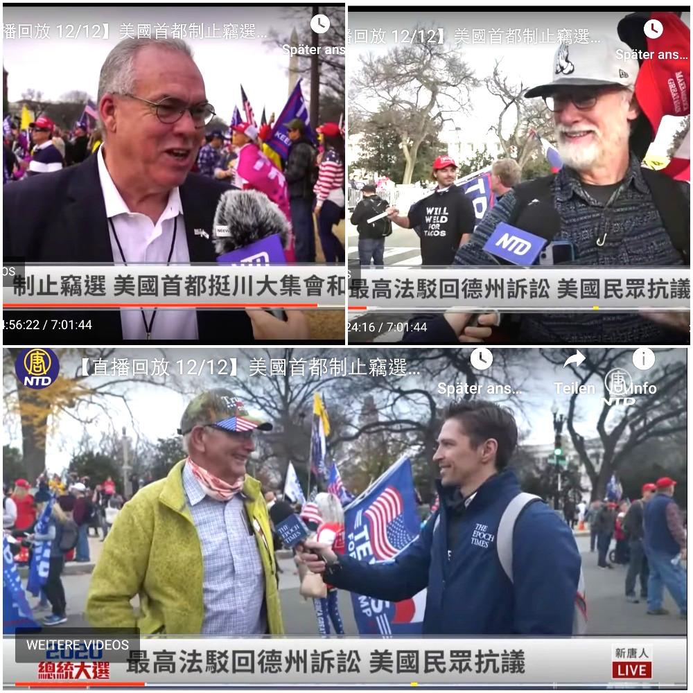 2020年12月12日在華盛頓舉行的反舞弊、反竊選的耶利哥遊行(Jericho March)中,人們接受大紀元、新唐人採訪。(大紀元圖片合成)
