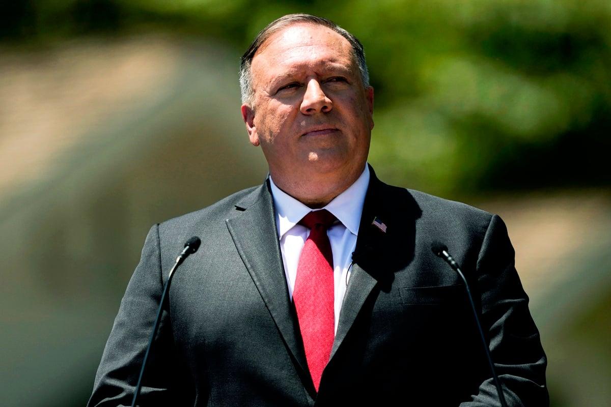 美國國務卿蓬佩奧2020年7月23日在尼克遜總統圖書館,發表美國對中共最嚴厲的演講。(Ashley Landis/POOL/AFP)