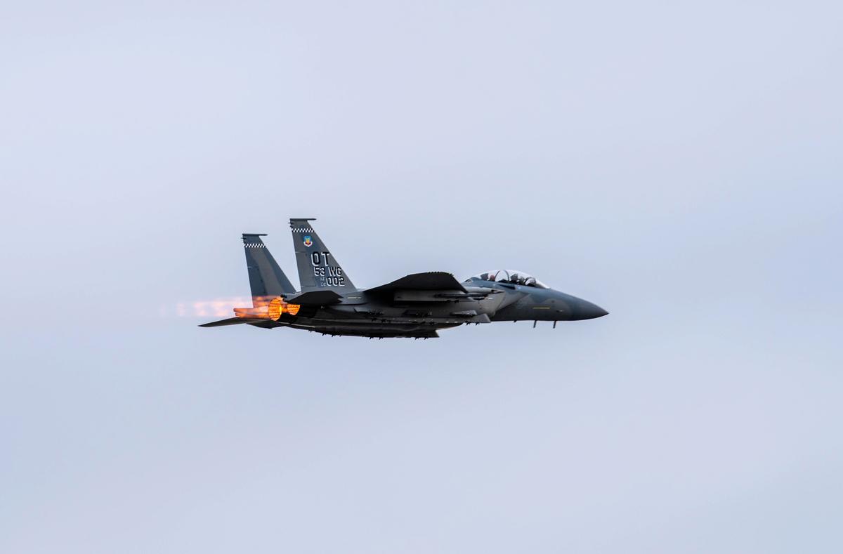 2021年5月3日到14日,美國印太司令部在阿拉斯加舉行Northern Edge 21軍演。空軍新款F-15EX戰機參加軍演。(U.S. Air Force photo by 1st Lt. Savanah Bray)