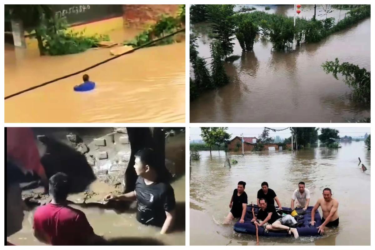 河南新鄉洪水成災,救援緩慢。(網絡圖片)