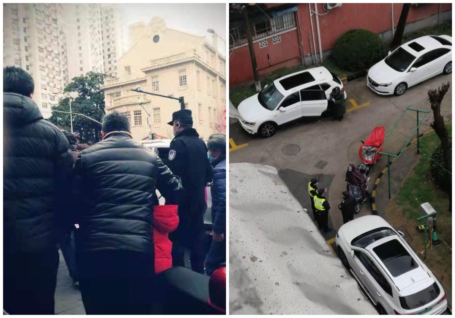 上海靜安區訪民2021年2月25日在區政府上訪被攔截後控制在家中,失去人身自由。(受訪者提供/大紀元合成)