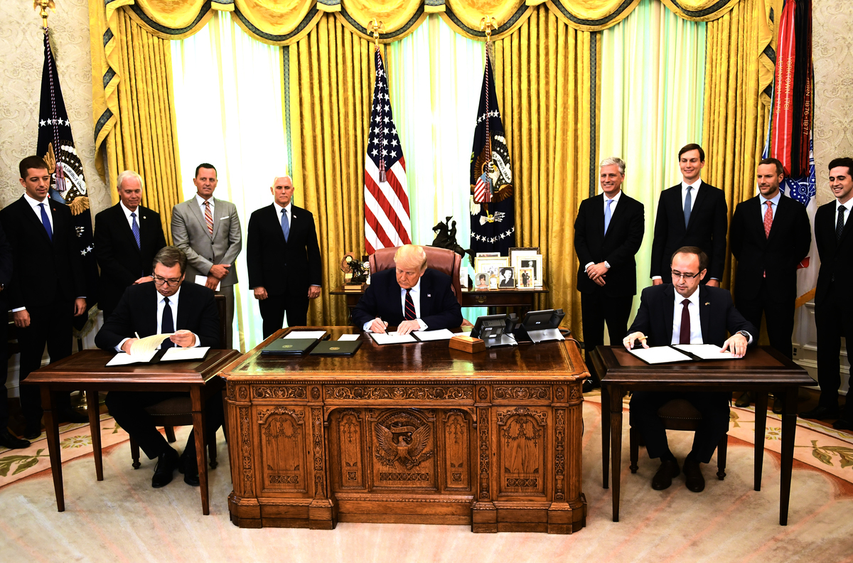 圖為9月4日,在特朗普總統的見證下,塞爾維亞和科索沃簽署了經濟關係正常化協議。與此同時,特朗普總統也在簽署一份文件。(Photo by Brendan Smialowski/AFP)