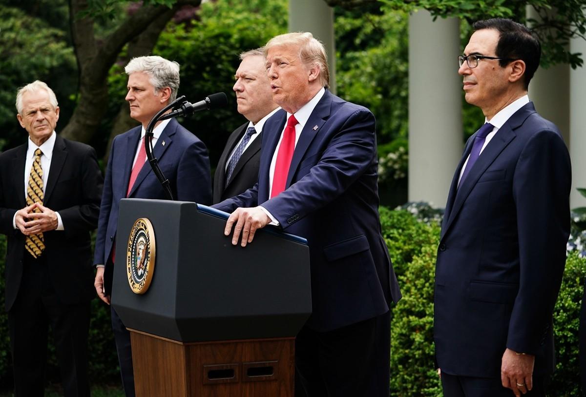 2020年5月29日,特朗普總統在白宮玫瑰園舉行關於中國的新聞發佈會。(MANDEL NGAN/AFP via Getty Images)
