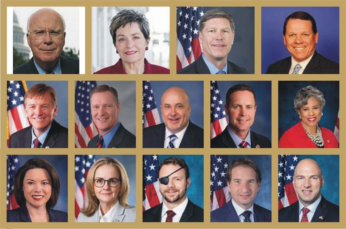 帕特里克·萊希(Patrick Leahy),美國眾議員瑪西·卡普特(Marcy Kaptur)、羅恩·金德(Ron Kind)、薩姆·格雷夫斯(Sam Graves);第二排(左起):美國眾議員保羅·戈薩爾(Paul Gosar)、史蒂夫·斯特維爾(Steve Stivers)、馬克·波肯(Mark Pocan)、羅德尼‧戴德偉(Rodney Davis)、布倫達·勞倫斯(Brenda Lawrence);第三排(左起):美國眾議員安吉·克雷格(Angie Craig)、馬德琳·迪恩(Madeleine Dean)、丹尼爾·克倫肖(Daniel Crenshaw)、迪恩·菲利普斯(Dean Phillips)、安東尼·岡薩雷斯(Anthony Gonzalez)。(大紀元合成)