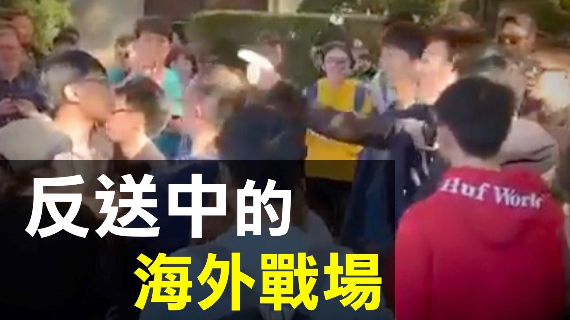 中共造假新聞,煽動海外華人干擾香港人的活動,成了港人反送中的海外戰場。(新唐人)