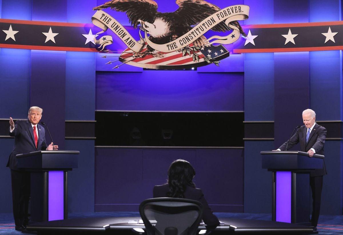 美國兩黨總統候選人特朗普和拜登於2020年10月22日舉行第二場也是最後一場辯論。(Chip Somodevilla/Getty Images)