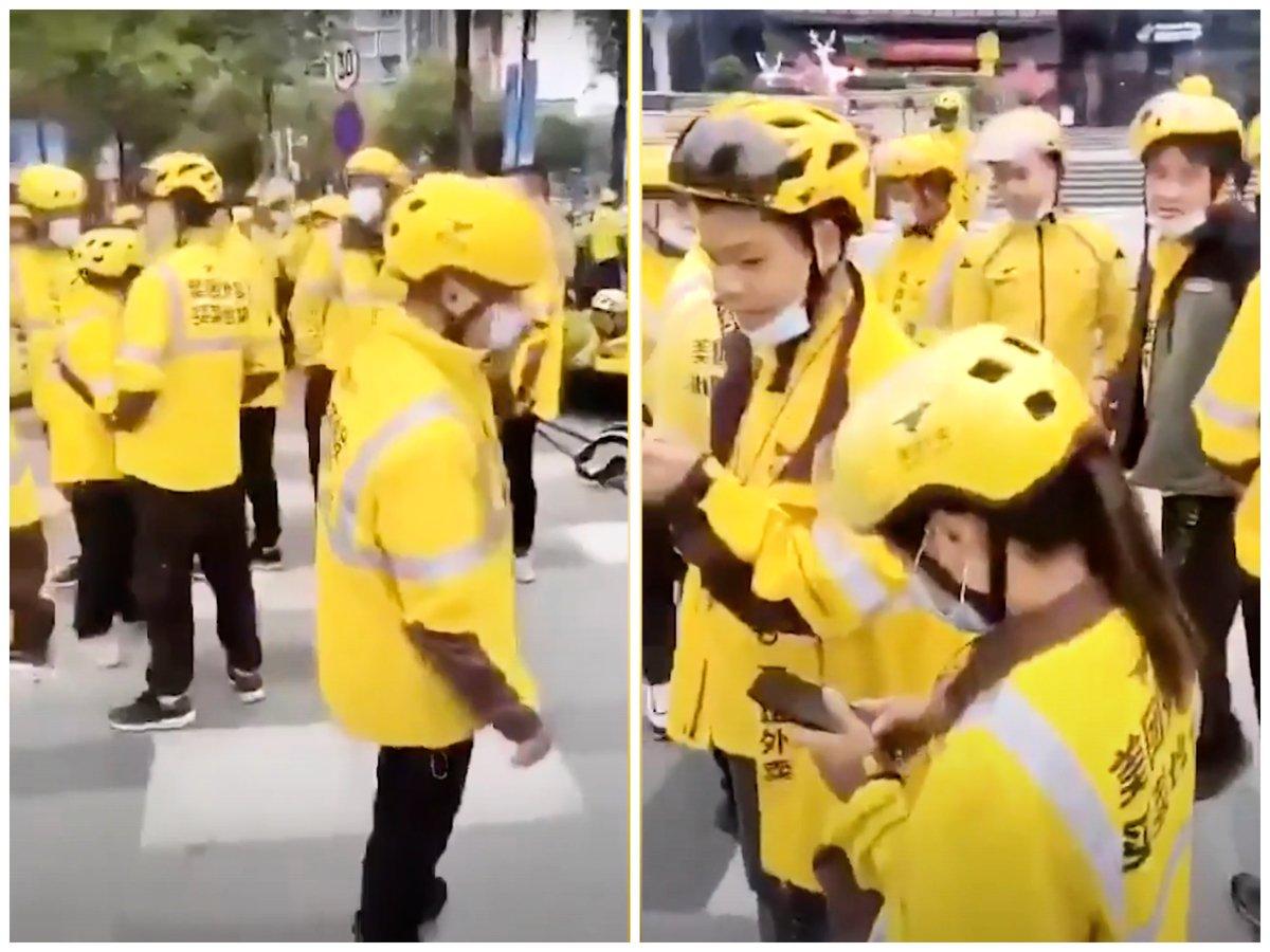 2021年3月1日,廣州深圳部份美團樂跑騎手聚集在一商場前罷工。(影片截圖)