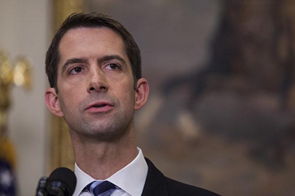 美國參議員湯姆‧科頓(Tom Cotton)最近對媒體表示,中共將美國公司作為中使館或情報服務機構的延伸,滲透國會、聯邦政府和地方政府。(Zach Gibson - Pool/Getty Images)