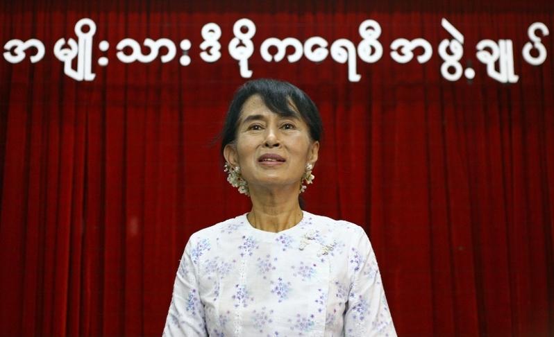 緬甸領導人昂山素姬(Aung San Suu Kyi)和其黨內多名高層官員2021年2月1日遭到軍方抓捕,引發國際社會譴責。昂山素姬資料照。(Ye Aung THU/AFP)