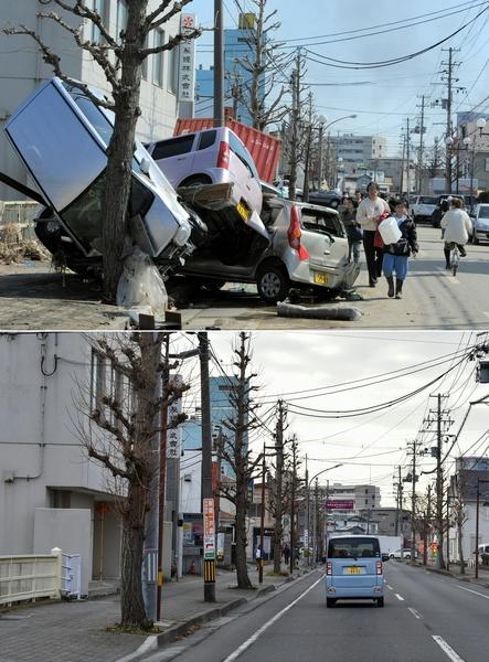 日本311大地震重災區宮城縣多賀城市(Tagajo,Miyagi)今昔對比圖。上圖攝於2011年3月13日,下圖攝於2021年3月14日。(KIM JAE-HWAN,KAZUHIRO NOGI/AFP via Getty Images)