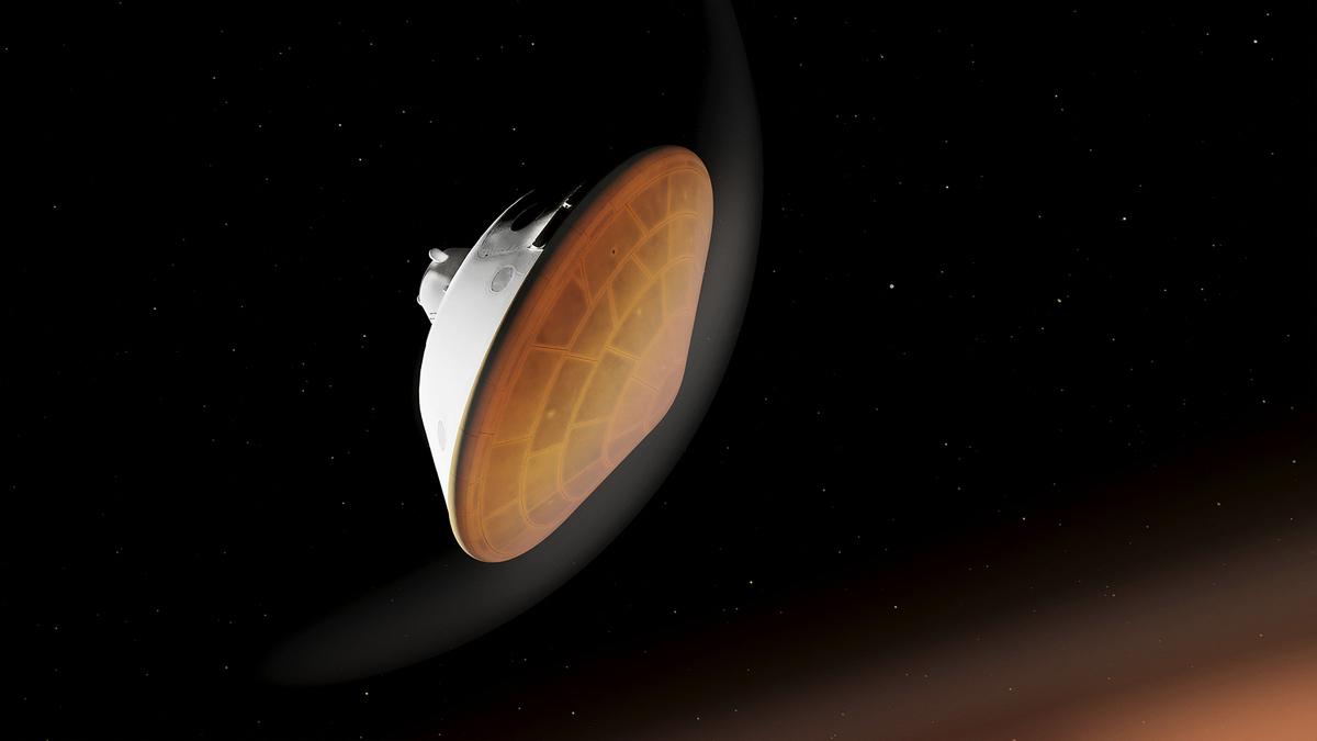 美國太空總署(NASA)「毅力號」火星漫遊車將於2月18日在火星一個隕石坑底部著陸。 (Handout / NASA/JPL-CALTECH / AFP)