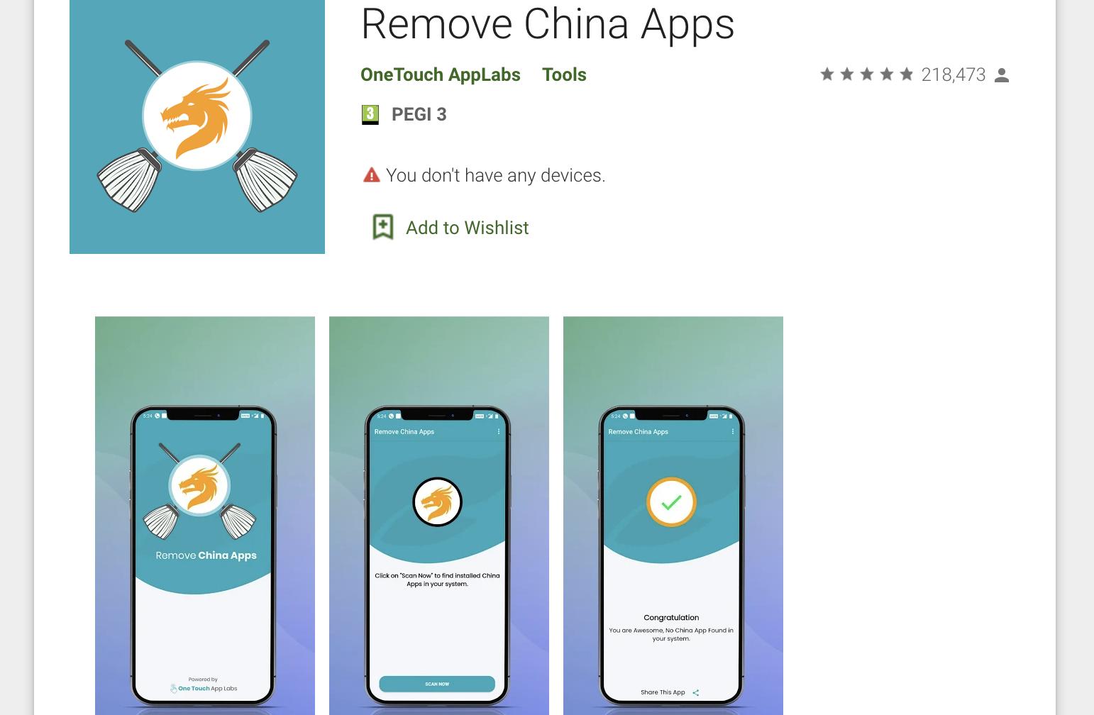 「移除中國Apps」(Remove China Apps)應用程式在印度的谷歌Play商店下載量破五百萬。(截圖)