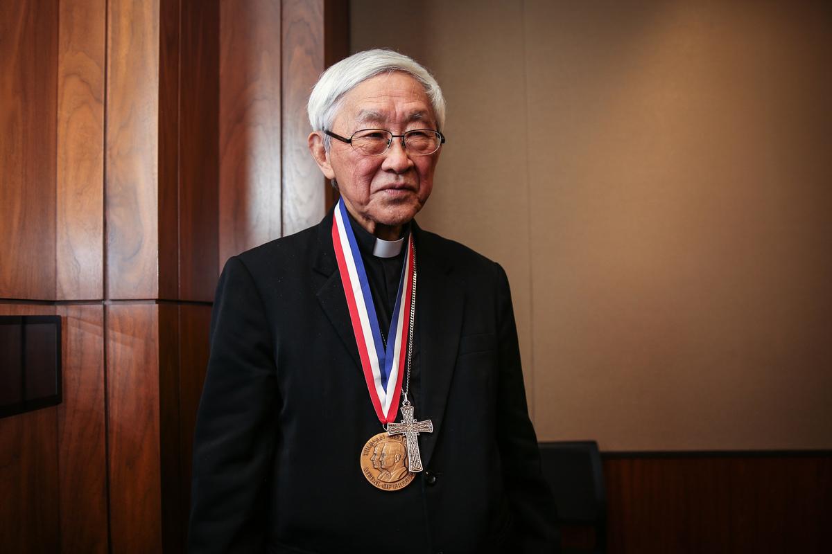 1月28日晚,共產主義受難者基金會在美國國會為香港退休主教陳日君(Joseph Zen)頒發杜魯門-列根自由獎章(Truman-Reagan Medal of Freedom),感謝他在人權領域做出的貢獻。 (Samira Bouaou/大紀元)