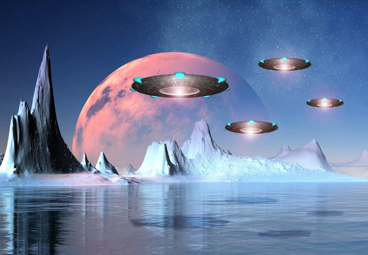人類是宇宙中唯一的智慧生命嗎?外星人和他們的高科技飛船真的存在嗎?這些話題一直是很多人關注的焦點。圖為外星世界的示意圖。(Fotolia)