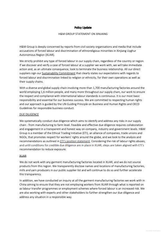 H&M集團2020年9月17日在國際官網發表的有關聲明。(網頁截圖)