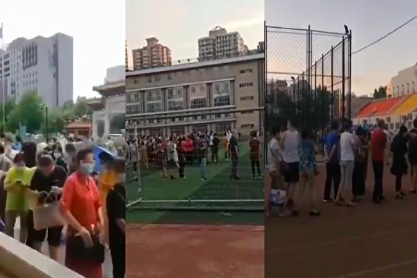 有網傳影片顯示,北京多地出現民眾大排長龍進行檢測,且都是曾經去過豐台區新發地市場的人。(影片截圖合成)