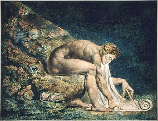 三百年的科技文明及現代意識對人類心靈的改造,不可低估。圖為威廉.布雷克的畫作〈牛頓〉,傳達其對牛頓所代表的啟蒙時代思潮的批判與反對立場。(公有領域)