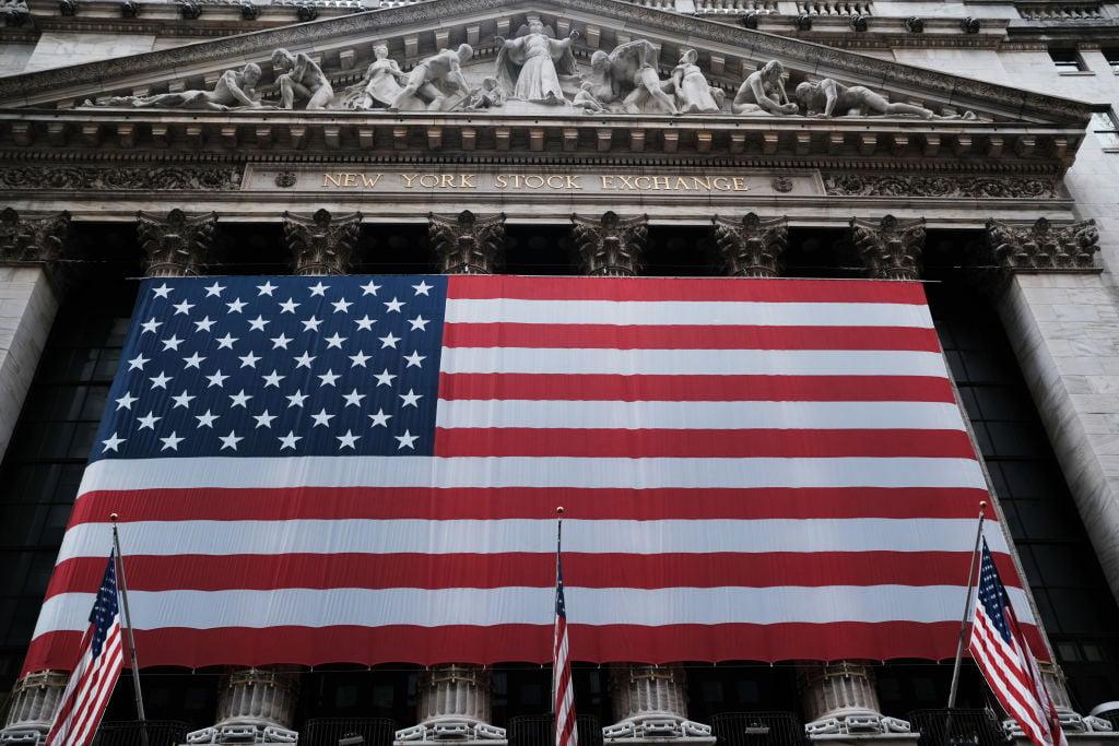 圖為紐約股票交易所大樓。(Spencer Platt/Getty Images)