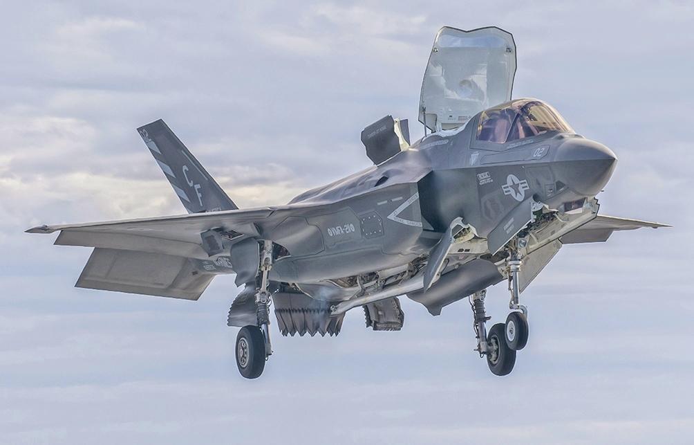 海軍陸戰隊F-35B-STOVL戰機是F-35的變種,可像短距離起飛/垂直著陸。事實上,這種戰機在各方面都是一次徹底突破,其中最重要的,它是世界上第一架超音速STOVL隱形飛機。(維基百科公有領域)