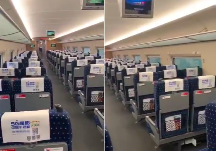 網傳影片顯示,從外地開往北京的高鐵列車上基本沒人。(影片截圖合成)