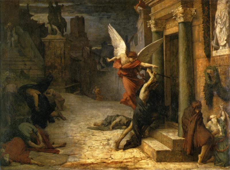 [法]居勒-埃里·德洛內(Jules Elie Delaunay,1828-1891),《被瘟疫侵襲的羅馬城》(PesteaRome),1869年作,巴黎奧塞美術館藏。(藝術復興中心提供)