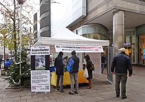 德國法輪功學員講真相 大陸學生喜遇同路人
