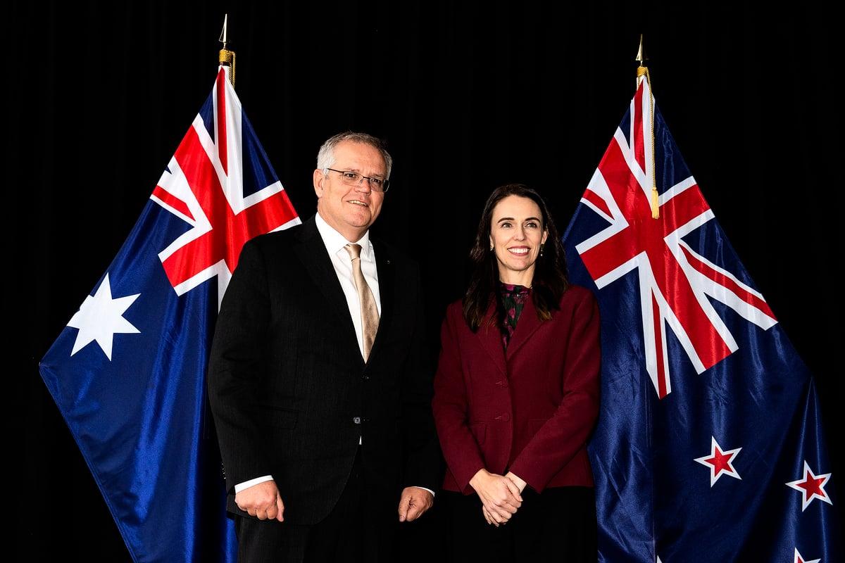 2021年5月31日,澳洲總理莫里森(左)與紐西蘭總理阿德恩在紐西蘭皇后鎮舉行年度對話。 (Joe Allison/Getty Images)