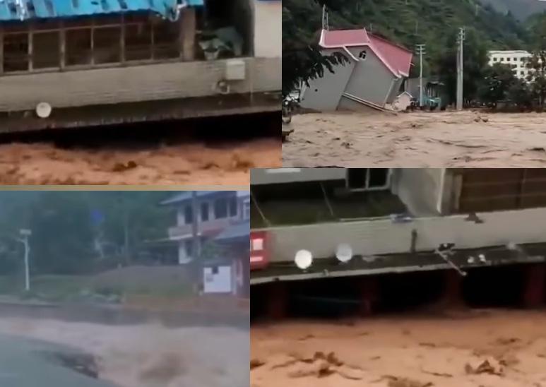 長江2020年第4號洪水形成之際,新一輪強降雨又將來臨。圖為甘肅洪水情況。(影片截圖合成)