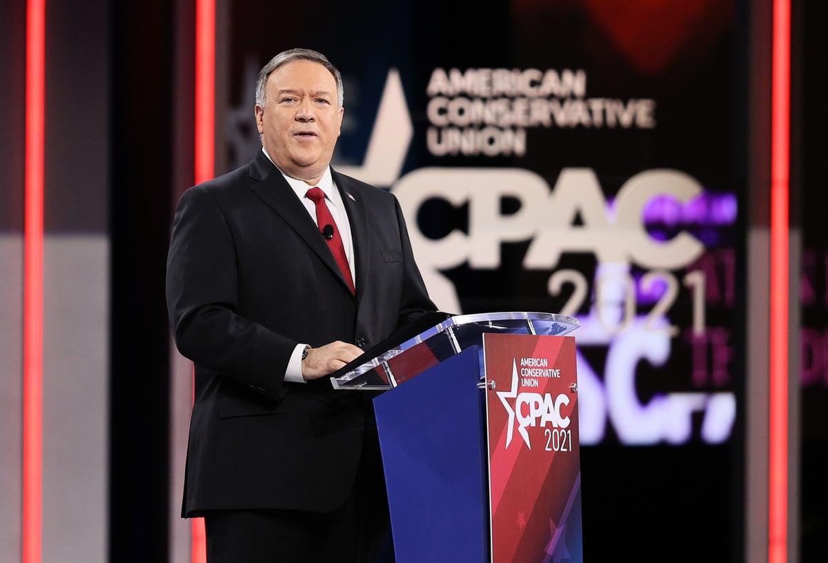 2021年2月27日,前美國國務卿蓬佩奧(Mike Pompeo)在CPAC會議上發言。(Joe Raedle/Getty Images)