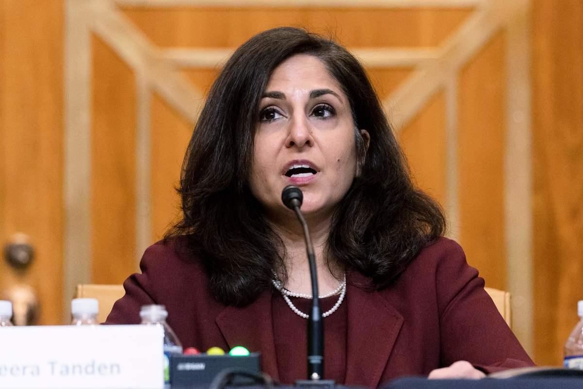 2021年2月10日,白宮行政管理和預算局局長提名人妮拉‧坦登(Neera Tanden)出席參議院預算委員會聽證會。(ANDREW HARNIK/POOL/AFP via Getty Images)
